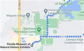 Walking route to Museum of Natural History