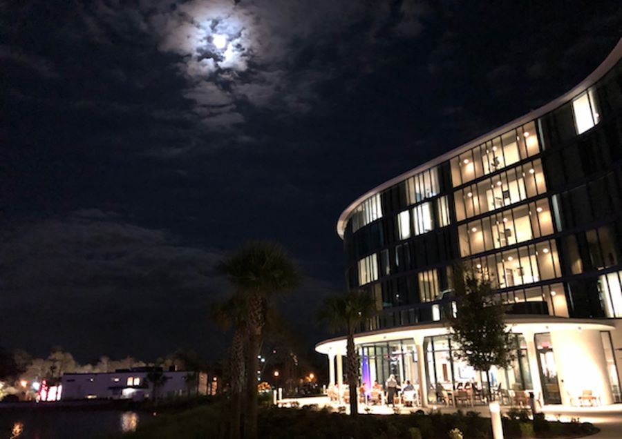 Full moon over Covey Kitchen + Cocktails